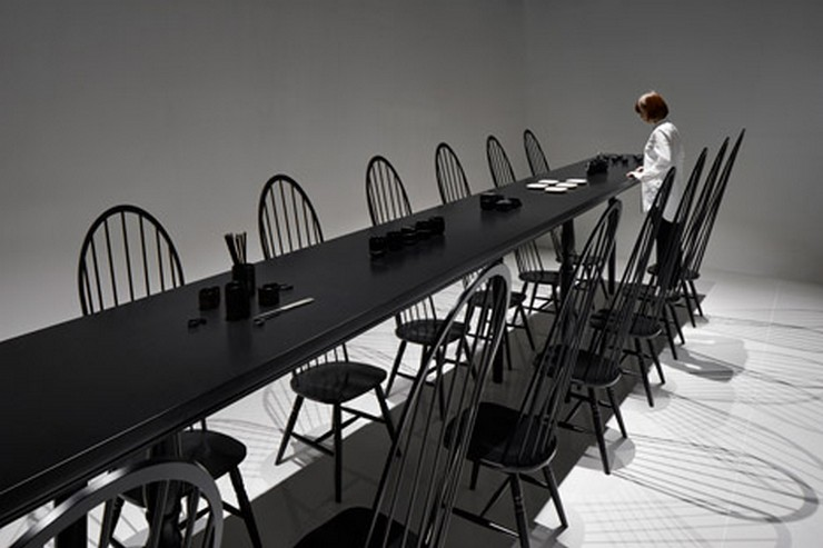 The Crazy Dining Room Optical Illusion by Nendo | This incredible creation was presented at the Milan Expo of 2015, but it's still an iconic statement in the world of design. #opticalillusion #diningtables #diningchairs #diningroom  The Crazy Dining Room Optical Illusion by Nendo The Crazy Dining Room Optical Illusion by Nendo 4