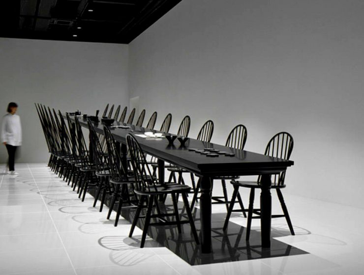 The Crazy Dining Room Optical Illusion by Nendo | This incredible creation was presented at the Milan Expo of 2015, but it's still an iconic statement in the world of design. #opticalillusion #diningtables #diningchairs #diningroom  The Crazy Dining Room Optical Illusion by Nendo featured 1 740x560