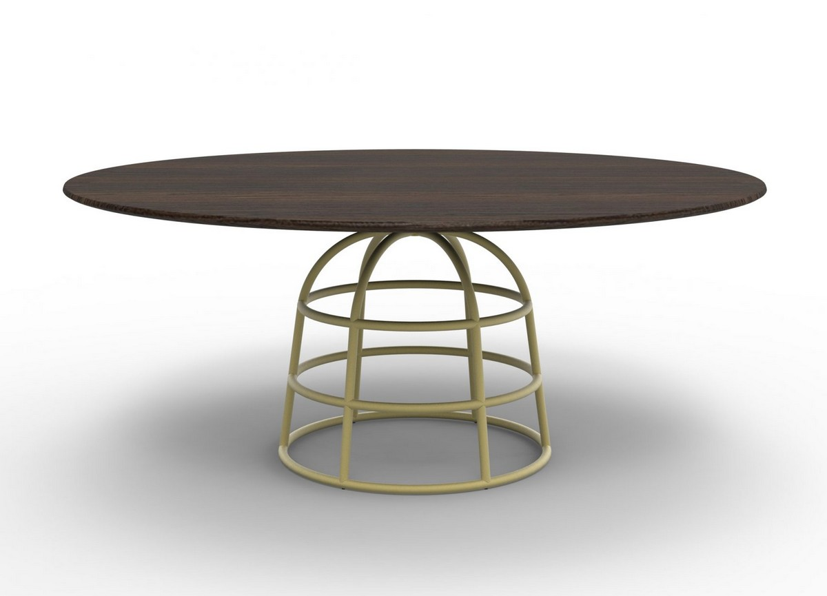 The Unique Dining Table With a Wire Metal Base | Allan Gilles, a designer from Brussels, created this unique table base made of bent metal frameworks that resemble crinoline petticoats. #interiordesign #homedecor #diningtable #diningchairs  The Unique Dining Table With a Wire Metal Base mass table bonaldo alain gilles furniture design dezeen 2364 col 16 1704x1229