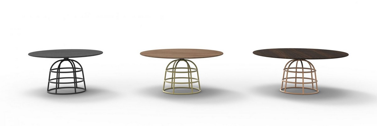 The Unique Dining Table With a Wire Metal Base | Allan Gilles, a designer from Brussels, created this unique table base made of bent metal frameworks that resemble crinoline petticoats. #interiordesign #homedecor #diningtable #diningchairs  The Unique Dining Table With a Wire Metal Base mass table bonaldo alain gilles furniture design dezeen 2364 col 17 1704x572