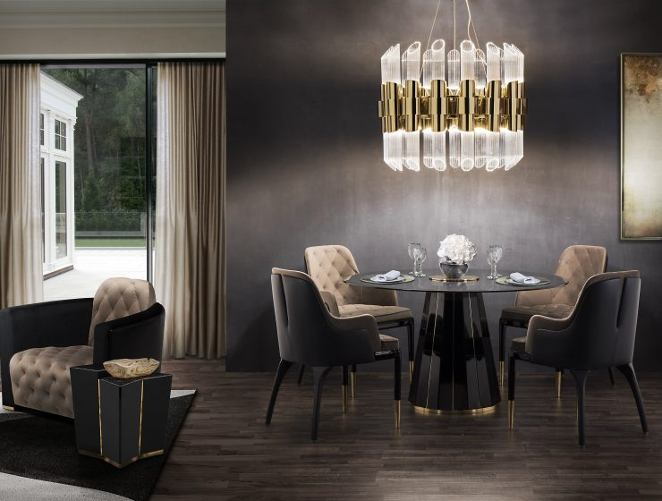 Take a Walk on The Dark Side: The Glamour of Black Luxury Dining Rooms luxury dining rooms Take a Walk on The Dark Side: The Glamour of Black Luxury Dining Rooms featured 740x560