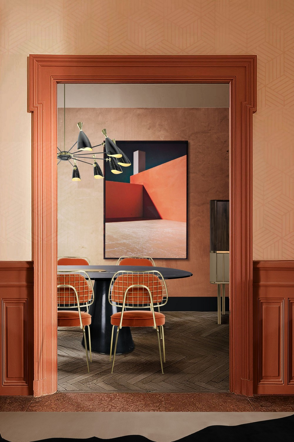 7 Rules For A Mid-century Dining Room With A Contemporary Twist mid-century dining room 7 Rules For A Mid-century Dining Room With A Contemporary Twist Add character via abstract prints patterns and art