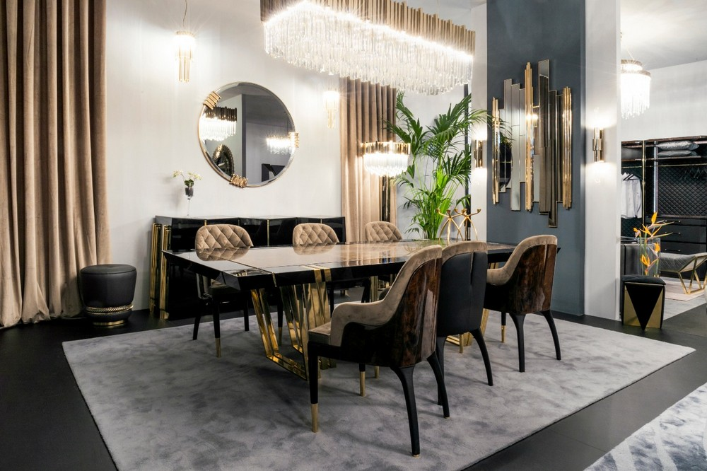 7 Luxury Mirrors That Will Bring Life To Your Contemporary Dining Room luxury mirrors 7 Luxury Mirrors That Will Bring Life To Your Contemporary Dining Room EXCLUSIVE CLASSY DINING ROOM BY LUXXU AT MO 2020