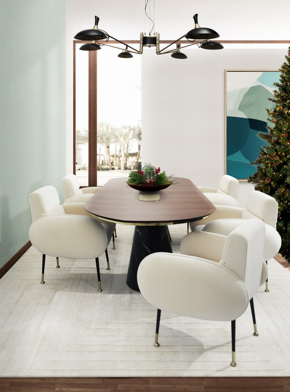 Christmas Is Here: Dining Room Ideas For An Unforgettable Celebration dining room ideas Christmas Is Here: Dining Room Ideas For An Unforgettable Celebration Essential Home Im Dreaming of A White Christmas Marco Dining Chair and Bertoia Big Dining Table 7046855