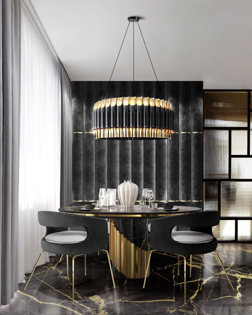 How To Use Black To Create A Thrilling Luxury Dining Room luxury dining room How To Use Black To Create A Thrilling Luxury Dining Room kdJvmgHA