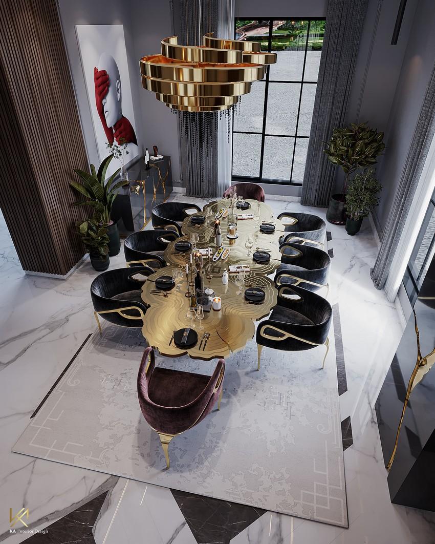 riyadh An Opulent Modern Classic Dining Room In Riyadh DiningEntryway 3