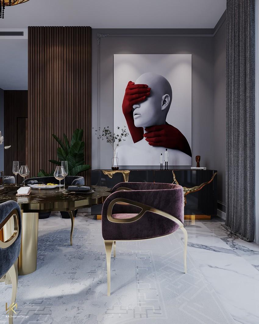 riyadh An Opulent Modern Classic Dining Room In Riyadh DiningEntryway 7