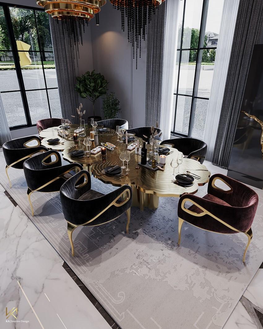 riyadh An Opulent Modern Classic Dining Room In Riyadh DiningEntryway 8